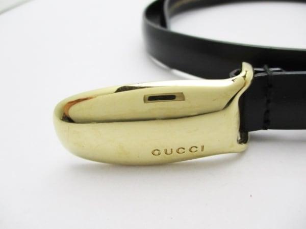 GUCCI(グッチ) ベルト 75/30 黒×ゴールド レザー×金属素材