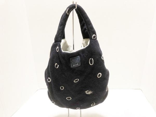 mina perhonen (mina)(ミナペルホネン) ハンドバッグ 黒×ベージュ ウール×化学繊維