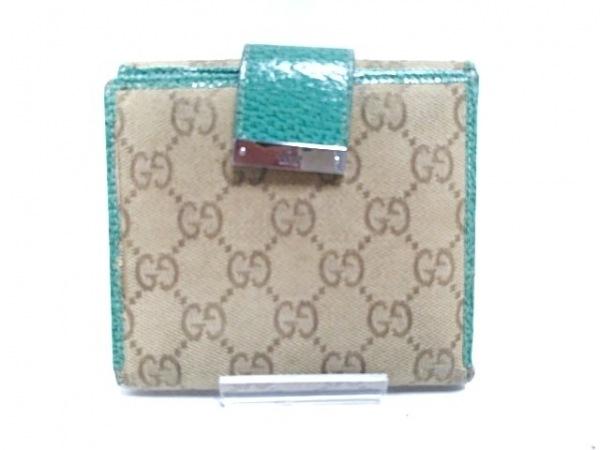 GUCCI(グッチ) Wホック財布 - 115090 ベージュ×グリーン ジャガード×レザー