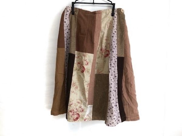 ハグオーワー 巻きスカート レディース ダークブラウン×ベージュ×マルチ 花柄