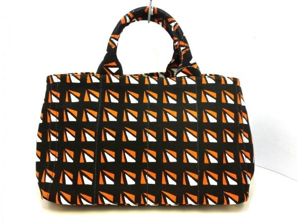 PRADA(プラダ) トートバッグ美品  CANAPA 黒×白×オレンジ キャンバス