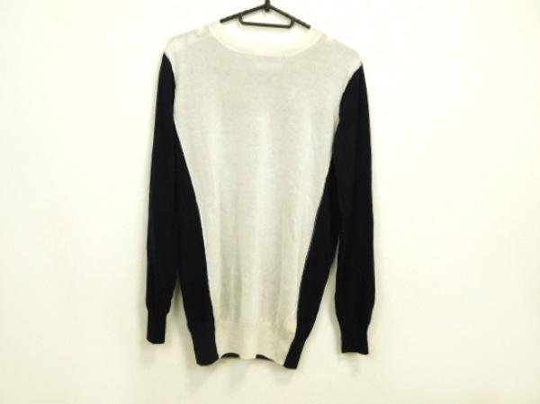 wb(ダブリュービー) 長袖セーター サイズF レディース美品  ネイビー×白