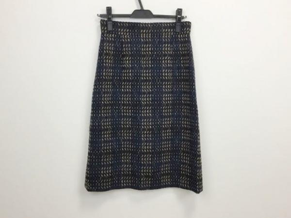 アマカ スカート サイズ36 S レディース美品  ネイビー×ダークネイビー×ベージュ
