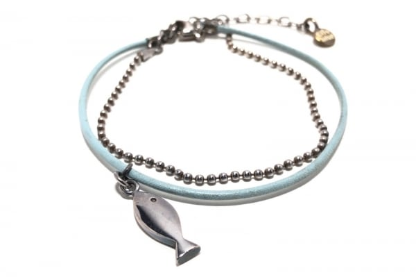 Clioblue(クリオブルー) ブレスレット 金属素材×レザー シルバー×ライトブルー 魚
