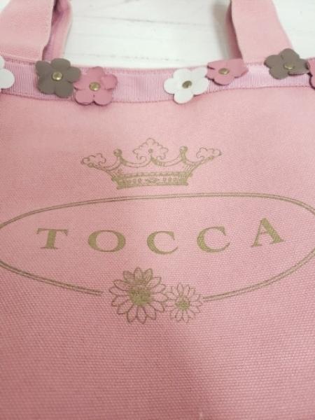 TOCCA(トッカ) トートバッグ ピンク×カーキ×マルチ フラワーモチーフ/ロゴプリント