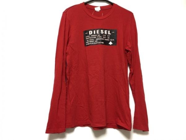 DIESEL(ディーゼル) 長袖Tシャツ サイズ16 メンズ レッド×黒×アイボリー