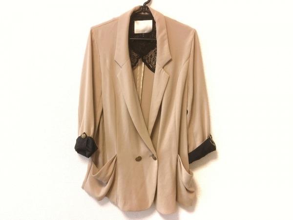 qualite(カリテ) ジャケット サイズ2 M レディース ベージュ×黒 ロング丈