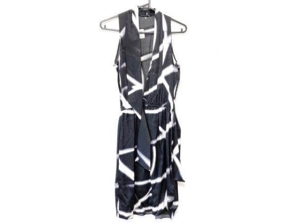 エリータハリ ワンピース サイズ4 XL レディース美品  黒×白×ダークグレー シルク