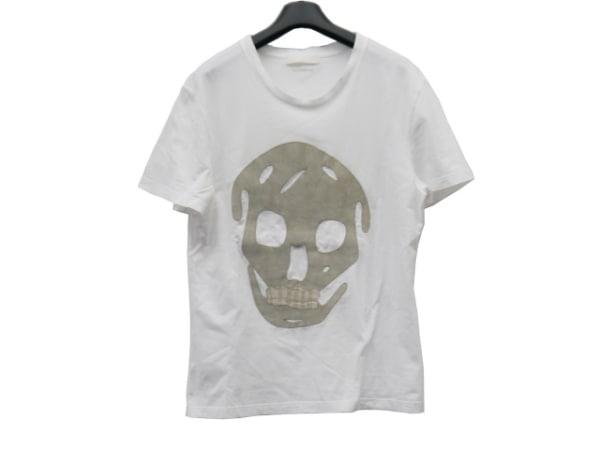 アレキサンダーマックイーン 半袖Tシャツ サイズXS レディース新品同様  白×グレー