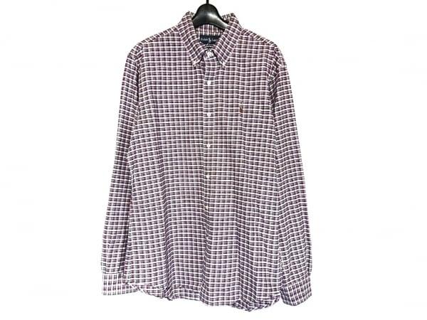 ラルフローレン 長袖シャツ サイズL メンズ美品  白×ブルー×レッド チェック柄
