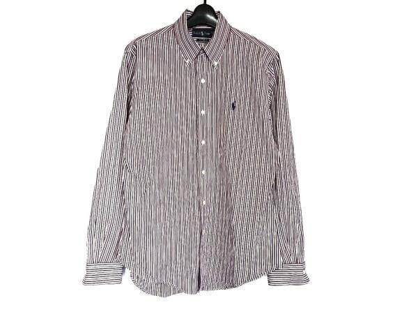 ラルフローレン 長袖シャツ サイズM メンズ美品  パープル×白×イエロー ストライプ