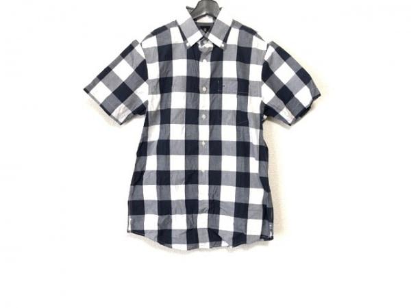 ヴィクトリノックス 半袖シャツ サイズS メンズ 白×ネイビー×グレー チェック柄