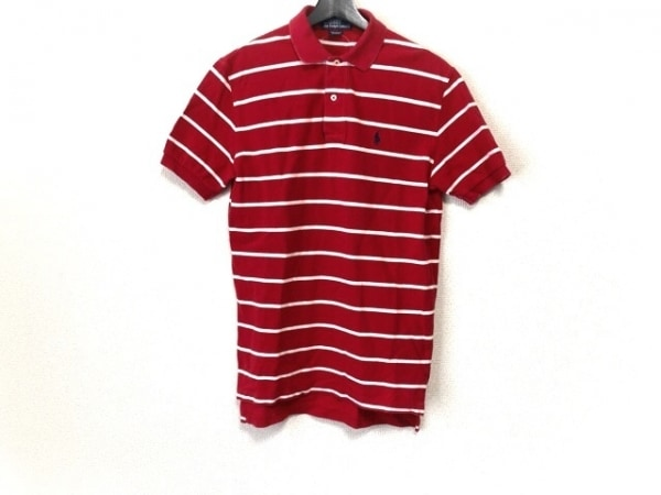 ポロラルフローレン 半袖ポロシャツ サイズXS メンズ レッド×アイボリー ボーダー