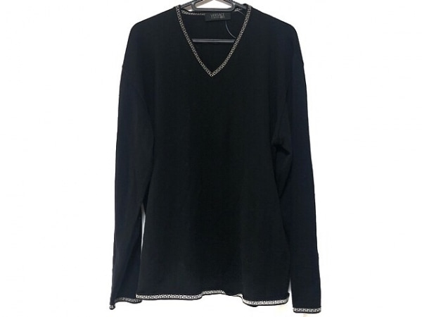 VERSACE CLASSIC(ヴェルサーチクラシック) 長袖セーター メンズ美品  黒×白