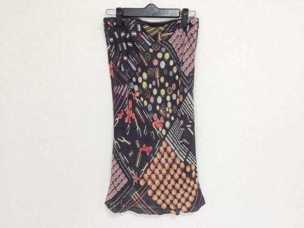 ポールスミスブラック スカート サイズ38 M レディース 黒×ピンク×マルチ 口紅柄