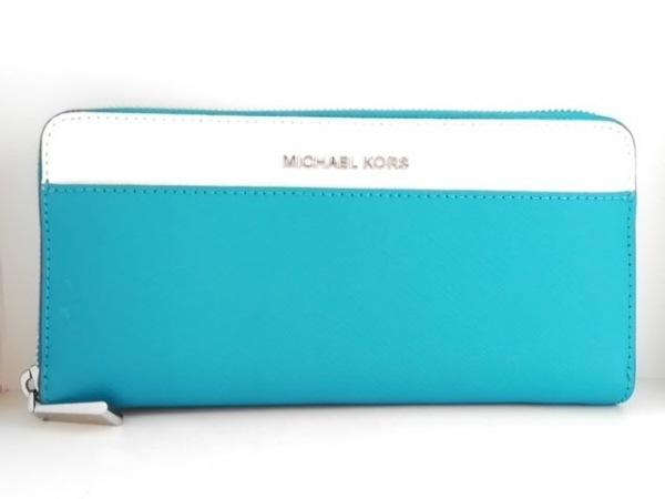 low priced c7678 73a84 MICHAEL KORS(マイケルコース) 長財布 グリーン×白 ラウンドファスナー レザー