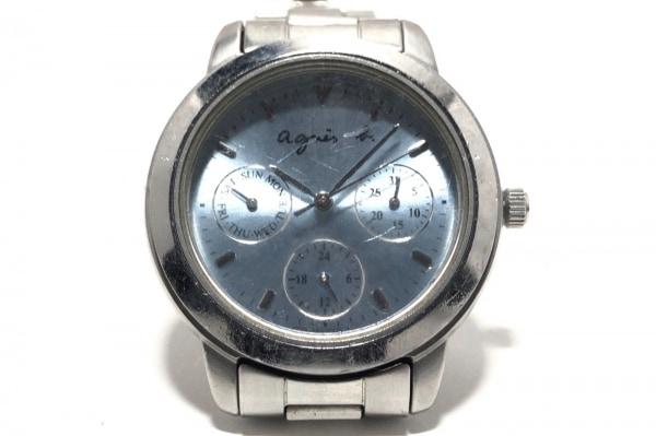 アニエスベー 腕時計 - V33J-0010 レディース トリプルカレンダー ライトブルー