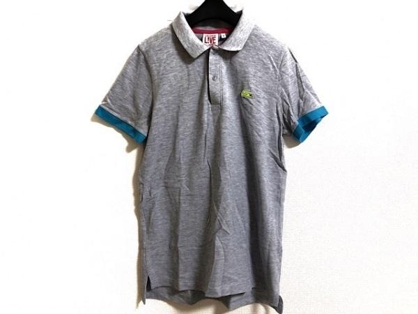 Lacoste(ラコステ) 半袖ポロシャツ サイズ3 L レディース グレー×ライトブルー