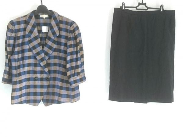 ラピーヌルージュ スカートスーツ サイズ15 L レディース 黒×ブルー×ベージュ