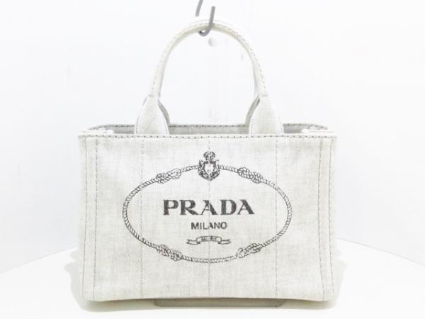 PRADA(プラダ) トートバッグ美品  CANAPA ライトグレー×黒 キャンバス