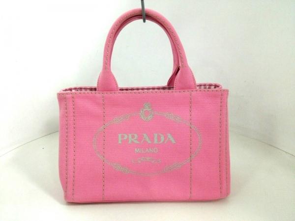 PRADA(プラダ) トートバッグ美品  CANAPA ピンク×ライトグレー キャンバス