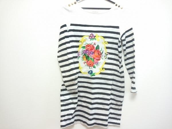 ミュゲ ワンピース レディース 白×黒×マルチ Muguet Fifth Avenue/ボーダー/花柄