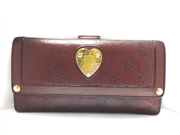 グッチ 長財布 シマライン 208566 ダークブラウン×ゴールド ハート レザー×金属素材