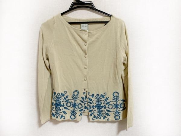 Sybilla(シビラ) アンサンブル サイズL レディース美品  ベージュ×ブルー 刺繍