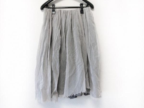 TOUJOURS(トゥジュー) スカート レディース美品  ライトグレー×ダークグレー