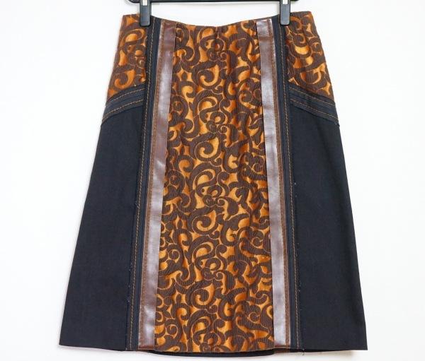 PRADA(プラダ) スカート サイズ44 L レディース ブラウン×ダークブラウン×黒