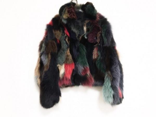 クリヨス コート サイズ36 S レディース美品  黒×レッド×マルチ 冬物/ファーコート