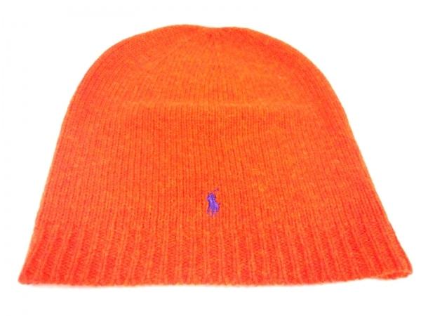 POLObyRalphLauren(ポロラルフローレン) ニット帽美品  オレンジ ウール