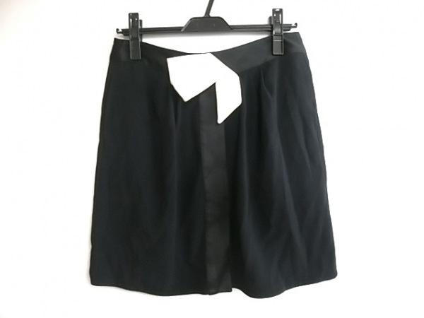 エンポリオアルマーニ ミニスカート サイズ40 M レディース 黒×白 リボン