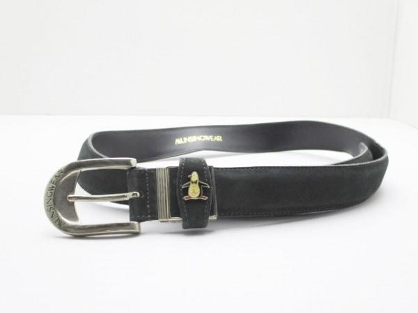 Munsingwear(マンシングウェア) ベルト ダークグリーン×シルバー スエード×金属素材