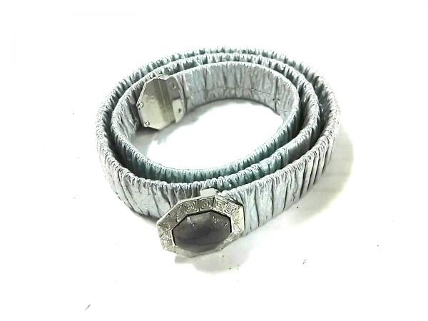 CHANEL(シャネル) ベルト 80美品  シルバー×グレー レザー×金属素材