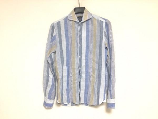 オリアン 長袖シャツ サイズS メンズ美品  ライトブルー×ベージュ×白 ストライプ