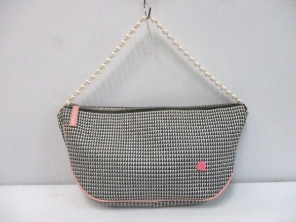 サマンサタバサ ハンドバッグ 白×黒×ピンク フェイクパール ジャガード×合皮