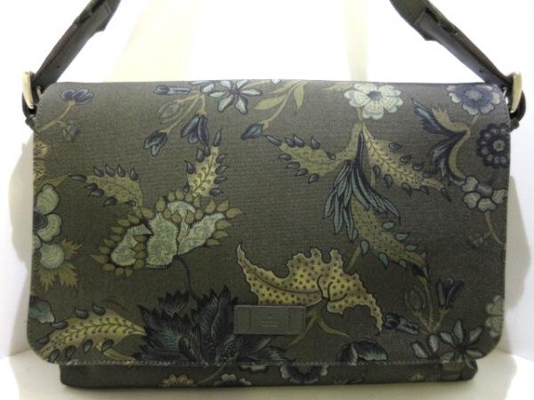 グッチ ショルダーバッグ美品  - 346741 カーキ×ダークグリーン 化学繊維×レザー