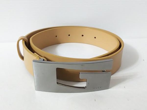 GUCCI(グッチ) ベルト 70・28 ライトブラウン×シルバー レザー×金属素材