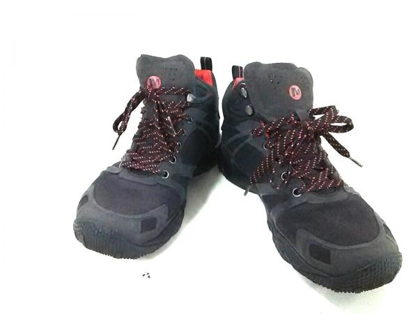 MERRELL(メレル) ショートブーツ メンズ 黒×レッド トレッキングシューズ 化学繊維