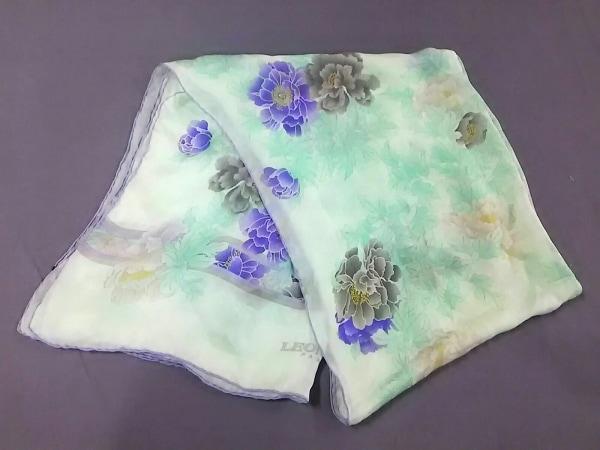 LEONARD(レオナール) スカーフ新品同様  ライトグリーン×パープル×マルチ 花柄