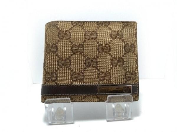 GUCCI(グッチ) 2つ折り財布 - 233102 ベージュ×ダークブラウン ジャガード×レザー