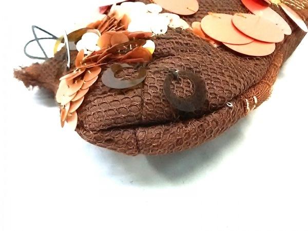 ジャマンピエッシェ ハンドバッグ美品  ブラウン×ダークブラウン スパンコール