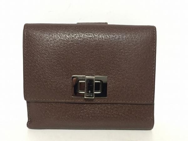 GUCCI(グッチ) Wホック財布 - 0350416 ダークブラウン レザー