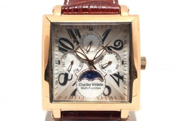 シャルルホーゲル 腕時計 CV-8029 メンズ 革ベルト/型押し加工/クロノグラフ 白