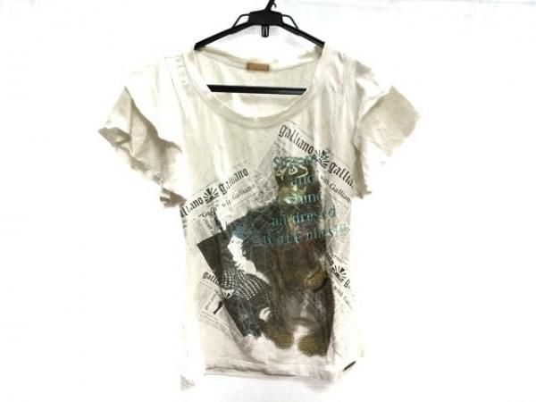 galliano(ガリアーノ) 半袖Tシャツ サイズS レディース 白×黒×マルチ フリル