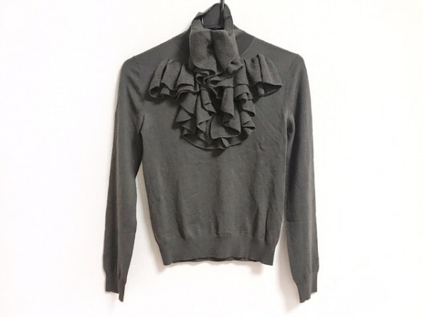 GIVENCHY(ジバンシー) 長袖セーター サイズXS レディース美品  ダークグレー フリル