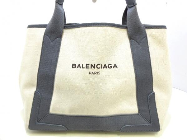 バレンシアガ トートバッグ ネイビーカバS 339933 アイボリー×グレー×黒