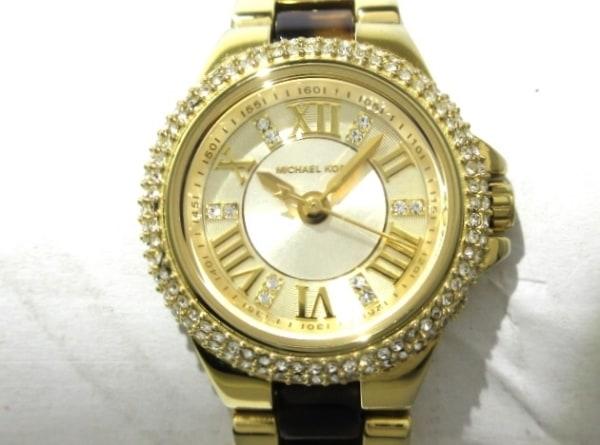 マイケルコース 腕時計美品  MK-4291 レディース ラインストーンベゼル ゴールド