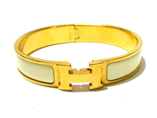 HERMES(エルメス) バングル クリッククラック 金属素材 ゴールド×アイボリー